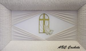 White Velvet Gold Cross With Praying Hands