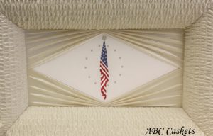 American Flag Panel with Diamond Rays, Vanilla Cream Satin