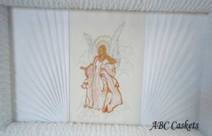 Angel Panel on White Crepe with Rays on Both Sides