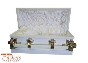 UUndersized 2/0 300 Lamb White with Gold Angel Hardware White Satin Interior