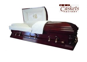 Ojai Casket, Chinese Happiness Panel with Diamond Rays, White Crepe Interior