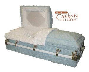 Child 4' Casket, High Pile Blue with White Satin Interior and Our Little Angel Motif