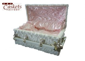2/0 High Pile Lamb White with Pink Satin Interior and Angel Corners
