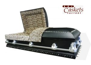 Leather Covered Casket with Studs and Spikes with Leopard Interior