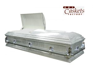 Casket with Silver Mirrored Sequins Fabric