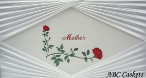 Mother Panel in Red on White Satin, Diamond Rays