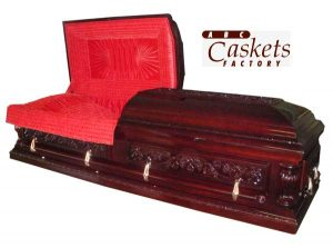Opulent Casket with Firebird Red Velvet Interior