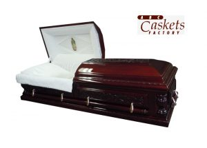 Opulent Casket, White Interior with Lady Guadalupe Panel, Diamond Rays