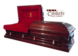 Opulent Mahogany Casket with Dark Red Velvet, Longevity Panel and Diamond Ray