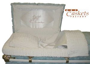 Our Little Angel Panel with White Satin Interior in High Pile Blue Child's 4' Casket