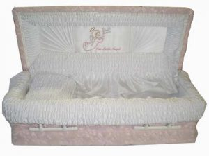 "Infant 2'6"" Casket, Lamb Pink with Our Little Angel Motif"