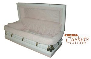 "Child Metal 3'6"" Casket, White Shaded Pink with Pink Velvet Interior and Angel Corners"
