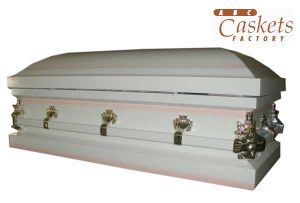 "Child Metal 3'6"" Casket, White Shaded Pink with Angel Corners"