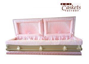 Chanel Style Pink and Gold Casket, Double Ray Pink Satin Interior