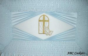 Praying Hands in Window Panel with Blue Satin Diamond Rays