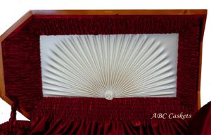 Red Satin White Ray with Rosette.