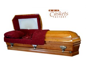 Westchester Maple Casket with Red and Vanilla Cream Satin Interior, Ray and Rosette.