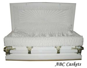 "Child Metal 2'6"" Casket, White Shaded Gold with White Satin Interior"
