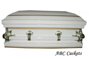 "Child Metal 2'6"" Casket, White Shaded Gold"