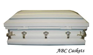 "Child Metal 3'6"" Casket, White Shaded Blue"