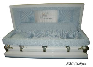 "Child Metal 3'6""Casket, White Shaded Blue with Blue Stain Interior and Our Little Angel Motif"