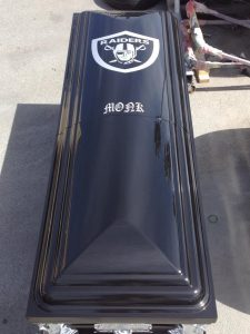 Custom Painted Raiders Casket