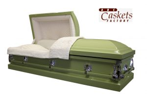Champagne Colored Metal Casket with White Crepe and Silver Hardware