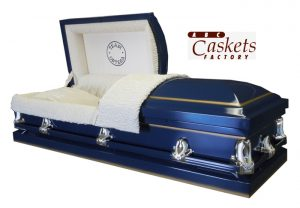 Royal Blue Casket with Gold Shading. Custom Panel.