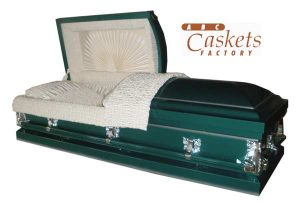 Green Shaded Silver Metal Casket with Vanilla Cream Satin Interior