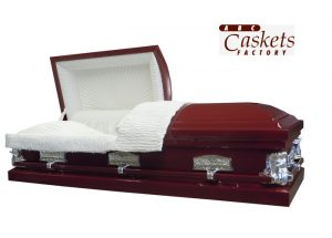 Burgundy Metal Casket with No Shade, White Crepe Interior, Last Supper Lugs & Angel Corners