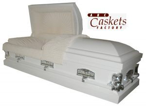 Last Supper White Casket with Angel Corners, Last Supper Lugs and Rosetan Crepe Interior