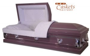 Purple Shaded Silver Metal Casket