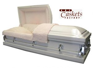 Purity White Shaded Silver Casket with Pink Crepe Interior