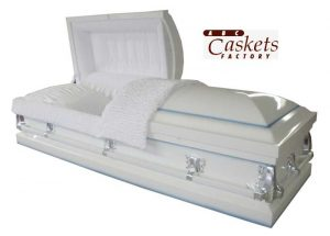 White Shaded Blue Casket with White Velvet Interior