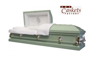 Custom Color Wispy Green Casket, Cross with Leaves Panel in White Crepe with Diamond Rays and Gold Hardware.