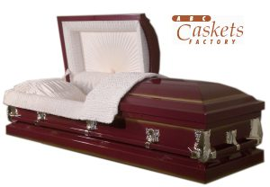 Burgundy Shaded Gold Metal Casket