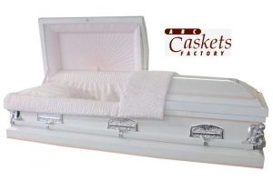 White Shaded Pink Casket with Angel Corners, Last Supper Lugs and Pink Crepe Interior